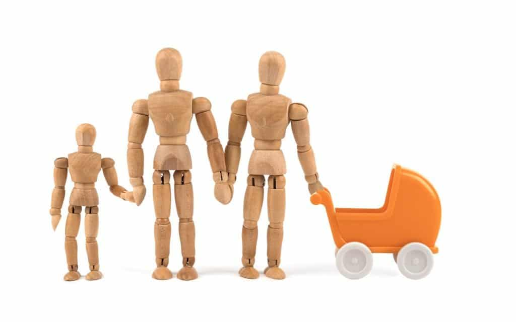 wooden gay dad dolls with child doll